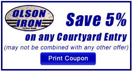 Coupon: Save 5% on any Custom Wrought Iron Courtyard Entry.